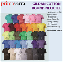 PRIMAVERRA | SINGAPORE | WHOLESALE | GILDAN | ROUND NECK TEE SHIRT | T-SHIRT | 34 COLOURS | CASUAL