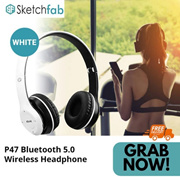 Sketchfab P47 Bluetooth 5.0 Wireless Headphone - White