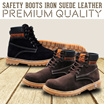 [PROMO] Sepatu Pria Safety Boots Iron Suede Leather Sol Karet High Quality
