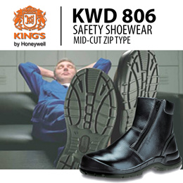 Kings Safety Boots KWD-806 Mid Cut Zip Type. Steel Toe Cap with Anti-static Material!