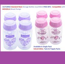 Autumnz B/M Strge Bottles(Std Neck*5oz*4 btls/pck)-BPA FREE-Medela Ameda Unimom Spectra S1*Value Pck