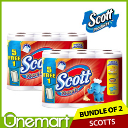 [SCOTT] 5+1 VALUE PACK ★ Kitchen Towel 60s x 12 • Removes Oil and Grease