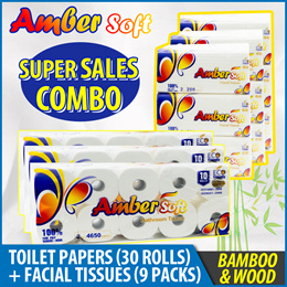 [SCANPAP] Amber Soft Bamboo Toilet Paper (3x10 rolls) + Facial Tissues (3x3 Packs)