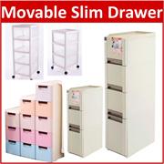 CV*Movable Storage Drawer with Wheels Laundry Basket Shelves Drawer Slim Rack