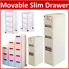 CV*Movable Storage Drawer with Wheels Laundry Basket Shelves Drawer Slim Rack