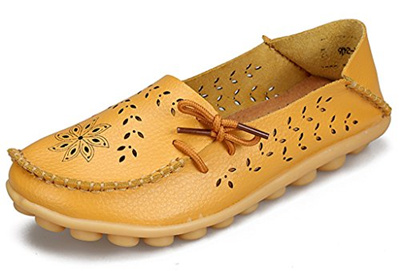 8e7bec8b Labato Style Women's Leather Casual Loafers Driving Moccasin Flats Slip-On  Slipper Shoes