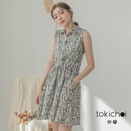 TOKICHOI - Patterned Waistband Shirt Dress-190450