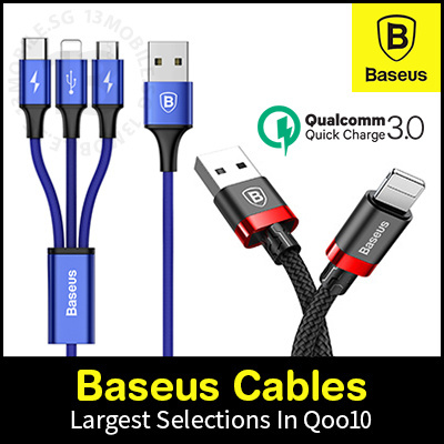 Baseus Fast Charging USB Cable Lightning iPhone Type C Micro USB Organiser 3-In-