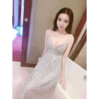 Free Shipping Size S L Bling Bling Dinner Wedding Ladies Long Dress Gold Silver