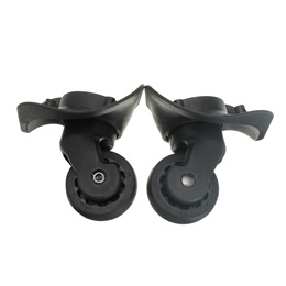 2Pcs Black Nylon Luggage Swivel Universal Wheels Replacement