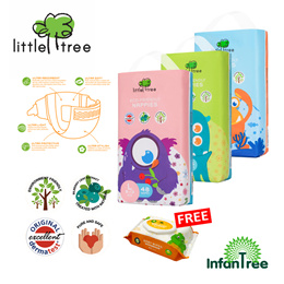 Little Tree Eco-Friendly Nappies Monster / diaper / Tape/ M L XL / free gift