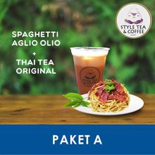 [BEVERAGE] Paket A (Spaghetti Aglio Olio+Thai Tea Original) /Style Tea And Coffee