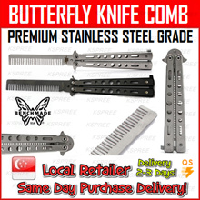 ★SG SELLER★ Butterfly Knife Comb / Premium Grade Stainless Steel Comb / Benchwade / Balisong / Same Day Purchase Delivery!