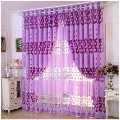 Modern Floral Tulle Living Room Drape Valances Window Curtain Purple With  Beads
