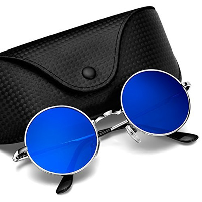 f043fa7889 Argus Le Lennon Style Vintage Round Polarized Unisex Sunglasses with  Mirrored or Plain Lens