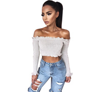 54ab9bb1cfcf1e Quick View Window OpenWish. rate:0. store 2018 New Tank Tops Sexy Off  Shoulder Ruffles Ruched Knit Crop Top Women Short Tees Casual Stre