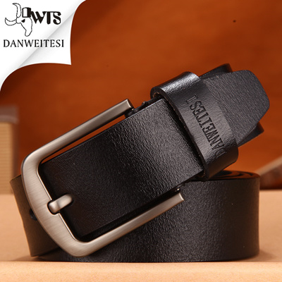 b95c8284adf2 [DWTS] cowhide genuine leather belts for men brand Strap male pin buckle  vintage jeans