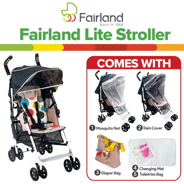 FREE DIAPER BAG MOSQUITO NET RAINCOVER AND MORE!?FAIRLAND?Lite Stroller Deals for only RM240.6 instead of RM430