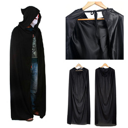 Black Halloween Costume Theater Prop Death Hoody Cloak Devil Long Tippet Cape