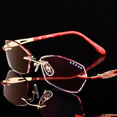 4fab963be185 Luxury Eyeglasses Rimless Women Myopia Prescription Eye Glasses Diopter  Rhinestone High Clear
