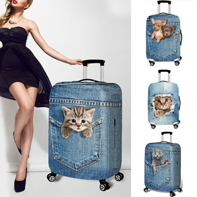 Cartoon Cute Cat Dog Trolley Case Luggage Cover Suitcase Covers Protective  Cover Elastic Durable Cow
