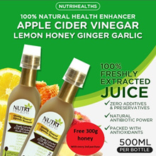 NATURAL HEALTH ENHANCER 500 ml - APPLE CIDER VINEGAR LEMON HONEY GINGER AND GARLIC x1 $28.80