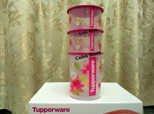 Tupperware One Touch Pink Blossom (Limitted Edition) (Set of 3 Air-tight Containers)