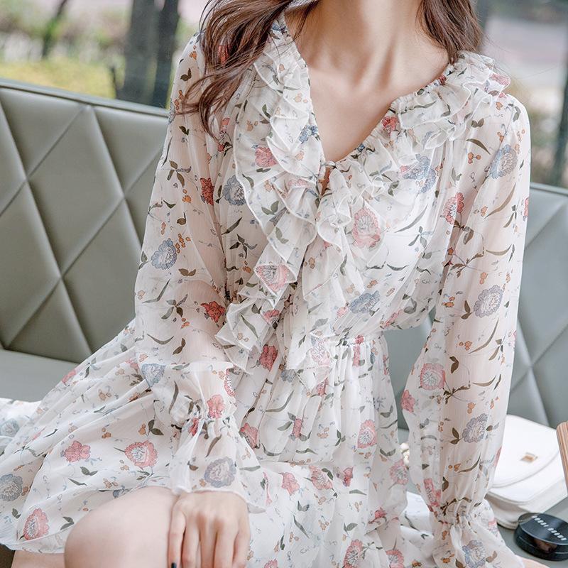 2017早秋  韓国ファッション  レディース  ワンピース 流行 体型 カバー  長袖 可愛い  上質  SKZ170