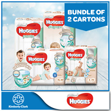 2 Cartons!! HUGGIES Platinum Diapers Tape and Pants