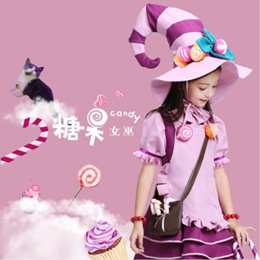 Halloween Childrens Clothing Cosplay Girls Candy Witch Dress Up Shaman Princess Demonstration Costum