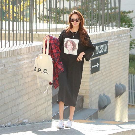 ピピン】フェイスラウンドロングワンピース34917 プリントのワンピース/ 韓国ファッション