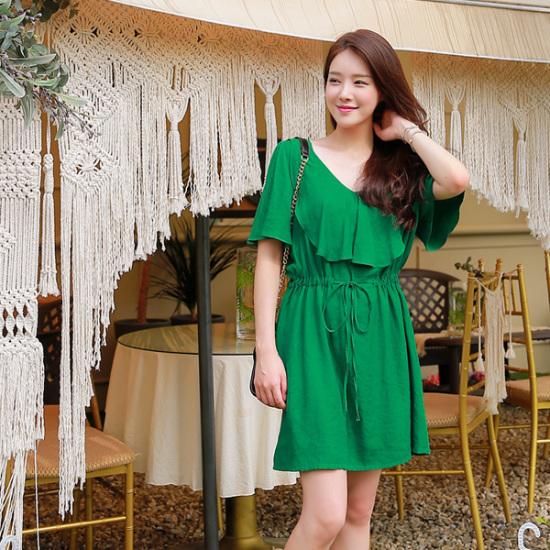 ジェイ・スタイルビックサイズエンジェルリプフリル羽袖ワンピース 大きいサイズ/ワンピース/韓国ファッション
