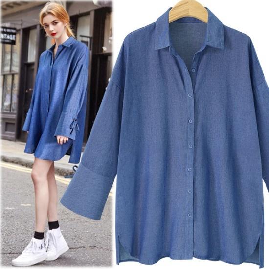 ペションプルDRS16341袖アイレット開けたことのデニムのシャツのワンピース 綿ワンピース/ 韓国ファッション