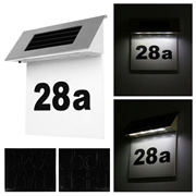 Stainless Solar Powered Led Illuminated House Door Number Light Wall Plaque TA