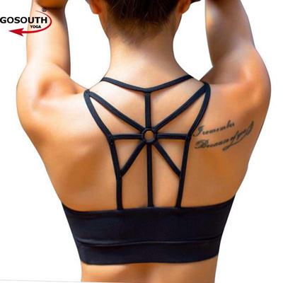 917ab37566 Women Push Up Sexy Sports Bra Cropped Crop Top Cross Wide Elastic Straps  Fitness Yoga Bra