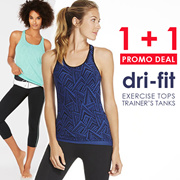 1+1 Promotion Exercise Sportswear. Dri-fit Sports Tank Top - yoga gym running zumba
