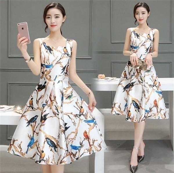 レディースワンピース 韓国無地 スリム 韓国のファッション  ロングスカート 丸首  ノースリーブワンピース  ハイウエストワンピース  プリントワンピース  ハイセンス 着心地いい おしゃれ 夏 ス