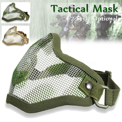 Tactical Ghost Mesh Airsoft Mask Paintball Half Face Protection Strike  Style Hunting Accessories