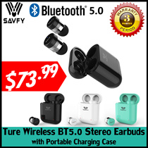 SAVFY® True Mini Wireless Bluetooth 5.0 Sport Earbuds Handsfree Earphone with Portable Charging Case