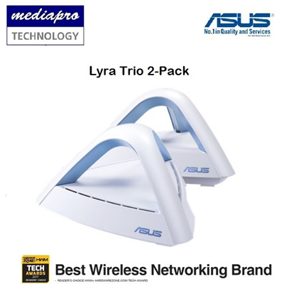 ASUS Lyra Trio 2-Pack Mesh WiFi System AC1750 ( MAP-1750-20 ) - 3 Years Local Asus Agent Warranty