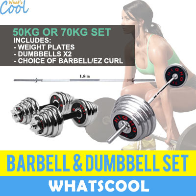 WhatsCool⚡Crazy Sales⚡50kg 70kg Barbell Dumbbell Weights EZ Curl Bar Tricep  Gym Fitness