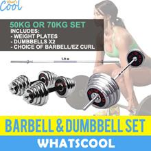 ⚡Crazy Sales⚡50kg 70kg Barbell Dumbbell Weights EZ Curl Bar Tricep Gym Fitness