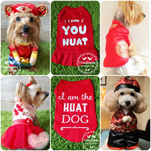 CNY Chinese New Year Cheongsam Costume Dress Tees Singlet Clothes for Pet Dog Cat
