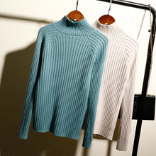 367e762eb4c High neck sweater female student thick sweater long sleeve solid color shirt  bottoming shirt