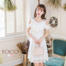 YOCO - Cold Shoulder Lace Dress-6023185-Winter