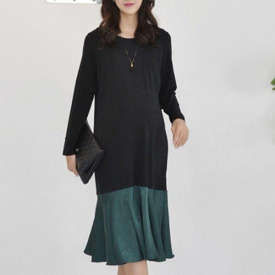 妊婦服・ドット・コムサテン配色授乳ロングワンピース 綿ワンピース/ 韓国ファッション