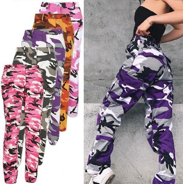 新しい女性ファッションカモフラージュパンツヒップポップパンツスポーツズボン