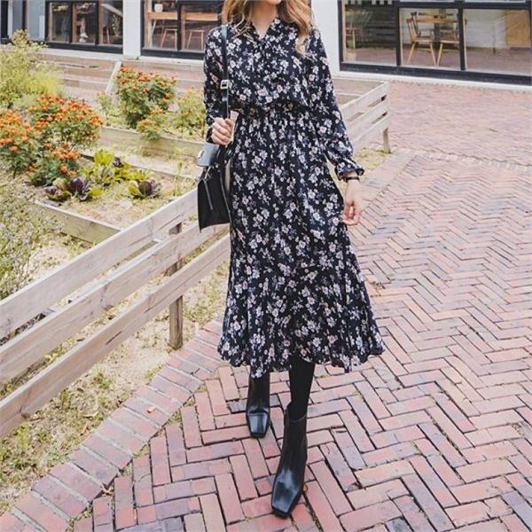 メルロウロングワンピース フレアワンピース/ワンピース/韓国ファッション