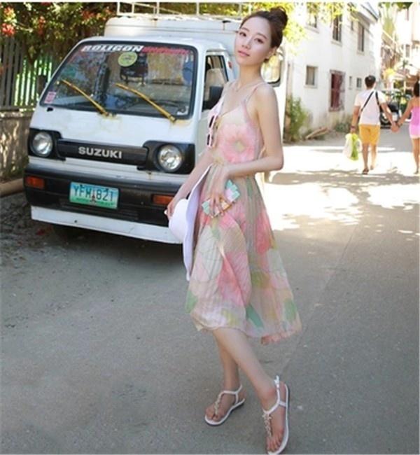レディースワンピース ビーチワンピース 砂浜 プリント キャミ ファッション ハイセンス 着心地いい おしゃれ 夏 レディースワンピース
