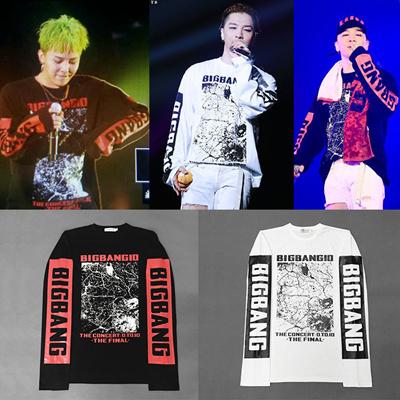 BIGBANG10周年G-DRAGON とSOL着用長袖★品質保証★ FASHION STYLE 長袖G-DRAGON コラボスタイル!男女兼用 /bigbangファッション